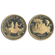 Anguilla 1970, 20 Dollars, Proof, Mermaids