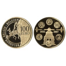 Belgium 2007, 100 Euro Proof  Gold Coin, 175th Anniversary