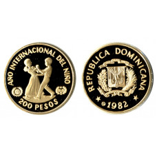 Dominican Republik 1982, 200 Pesos, Proof Gold Coin, Year of the Child