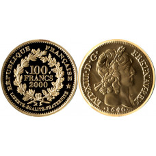France 2000, 100 Francs - Proof, Pistole of Louis XIII