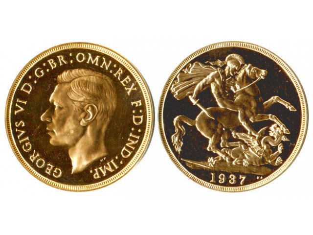 Great Britain 1937 2 Sovereign King George Vi Proof Gold Coin
