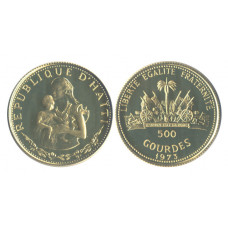 Haiti 1973, 500 Gourdes Proof, Mother with Child, a very popular Coin
