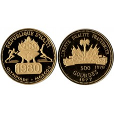 Haiti 1977, 500 Gourdes - Proof Gold Coin, Moscow Olympics
