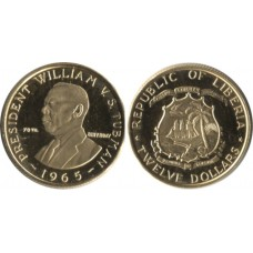 Liberia 1965, 12 Dollars, Proof Gold Coin, 70th Birthday of President Tubman