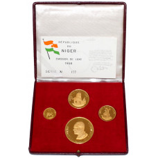Niger,  1968 - Proof Gold Coin Set - Independence Anniversary