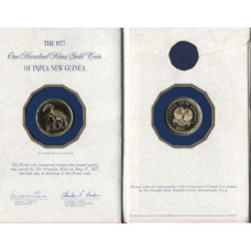 Papua New Guinea 1977, 100 Kina, a perfect Proof Gold Coin