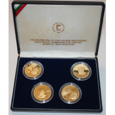 Portugal 2000, Proof Set, New Frontiers, 4 x 200 Escudos - Gold Coin Discovery Set - in perfect Proof condition