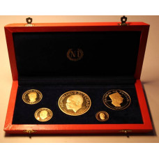 Chad 1970 Proof Set, 10th Aniversary of Independence, 5 Proof Gold Coins