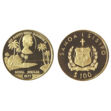 Samoa 1977, 100 Tala, Proof Gold Coin, Queens Silver Jubilee