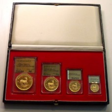 South Africa 1975 /1982, Set of 4 Proof Gold Coins each Coin