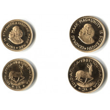 South Africa 1981, 1Rand/2Rand Proof Twin Gold Coin Set