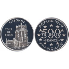 France 1997, 500 Francs, Proof, Lisbon, Torre de Belem