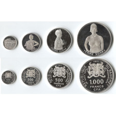 Dahomey-Benin 1971, Proof Silver Set - 10th Anniversary of Independence