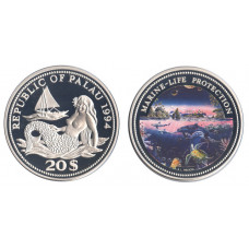 Palau 1994, 20 Dollars, Proof, Marine-Life, Multicolor